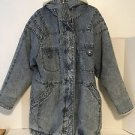 East West Panda Group VTG Coat Jacket Acid Wash Blue Denim Retro Grunge