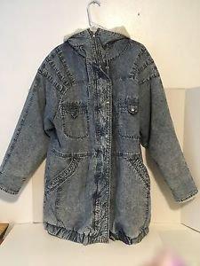East West Panda Group VTG Coat Jacket Acid Wash Blue Denim Retro Grunge