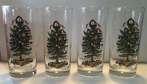 4 Georges Briard Yule Tide Yuletide Christmas Tree Cooler Tumblers