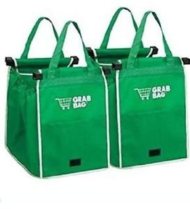 NIB 2 GRAB BAG Clip to Cart Reusable Shopping Grocery Bags As Seen on TV