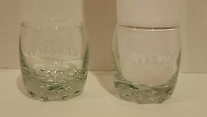 O'Mara's Irish Country Cream Whiskey Etched Glasses Pat OBrien set of 2 EUC