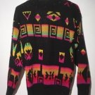 VTG 1989 Southwestern Aztec Geometric Hipster Bright Neon Sweater A Jane Adams