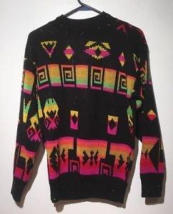 VTG 1989 Southwestern Aztec Geometric Hipster Bright Neon Sweater A Jane Adams