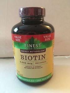 Finest Nutrition Biotin 5,000 mcg, 300 Capsules, Value Size, EXP. 09/2019