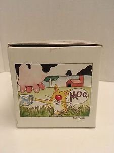 "On A Lark Coffee ""Moo"" Mug Cat Holding Up Mug for Milk Cow Udders 2002 In BOX"