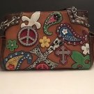 Western Fleur de Lis Rhinestone Crosses Shoulder Purse Handbag Multicolor