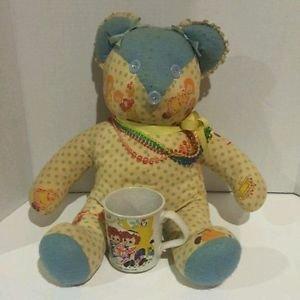 VTG Raggedy Ann and Andy Coffee Mug Cup & Handmade Teddy Bear Blue Lace Fabric
