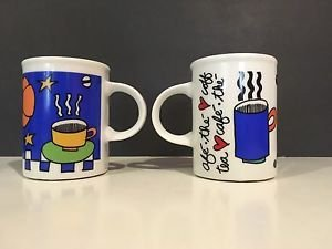 Cafe Marc Tetro Coffee Mug Danesco Stars Blue Black White Multicolor