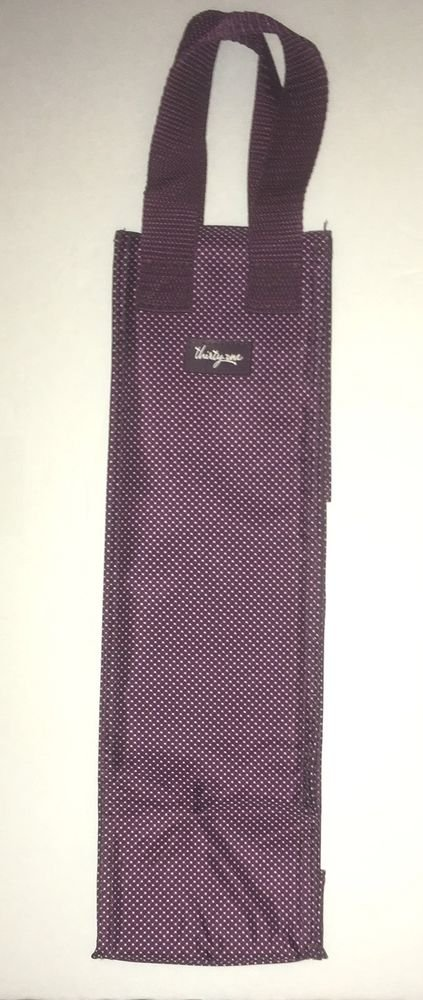 Thirty One Gifts Plum Gingham Dot Bottle Thermal Purple Wine Bag