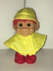 Russ Troll Doll Yellow Raincoat Poncho Red Hair 4 Inch