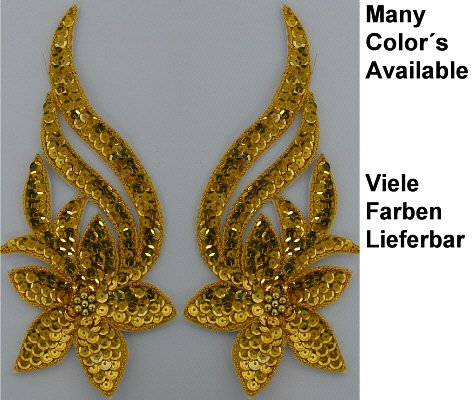 pair appliques sequins applikationen pailletten sew on embroidery handmade ap11