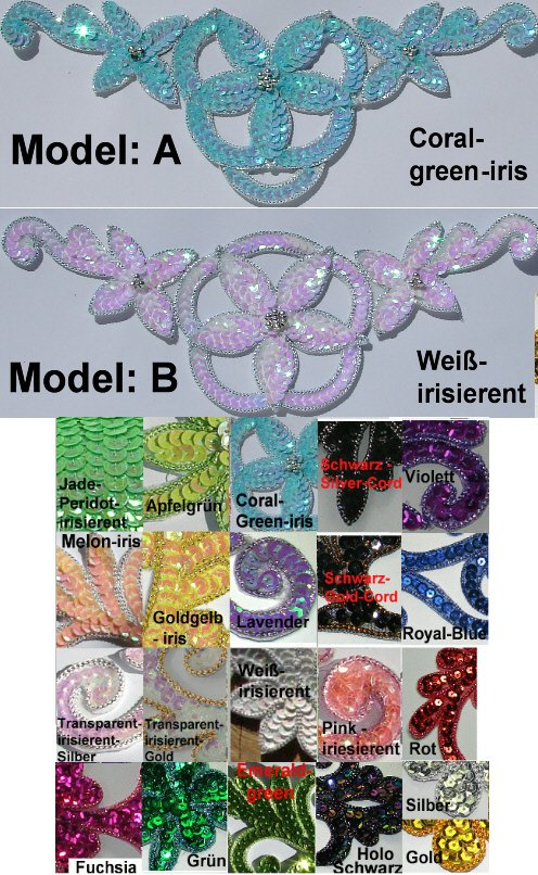 appliques sequins applikationen pailletten sew on embroidery handmade ap22