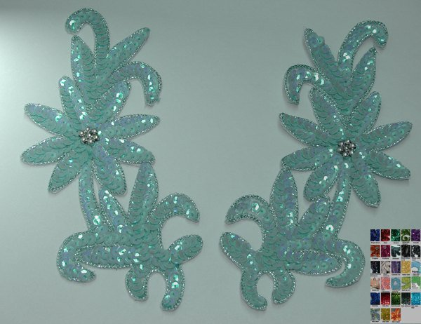 pair appliques sequins applikationen pailletten sew on embroidery handmade ap52