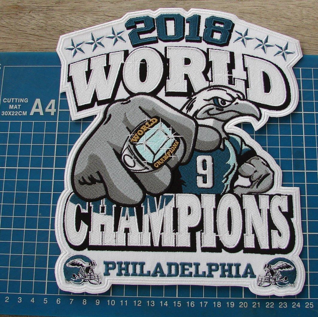 2018 PHILADELPHIA EAGLES WORLD CHAMPION PATCH SUPERBOWL NFL HUGE EMBROIDERED