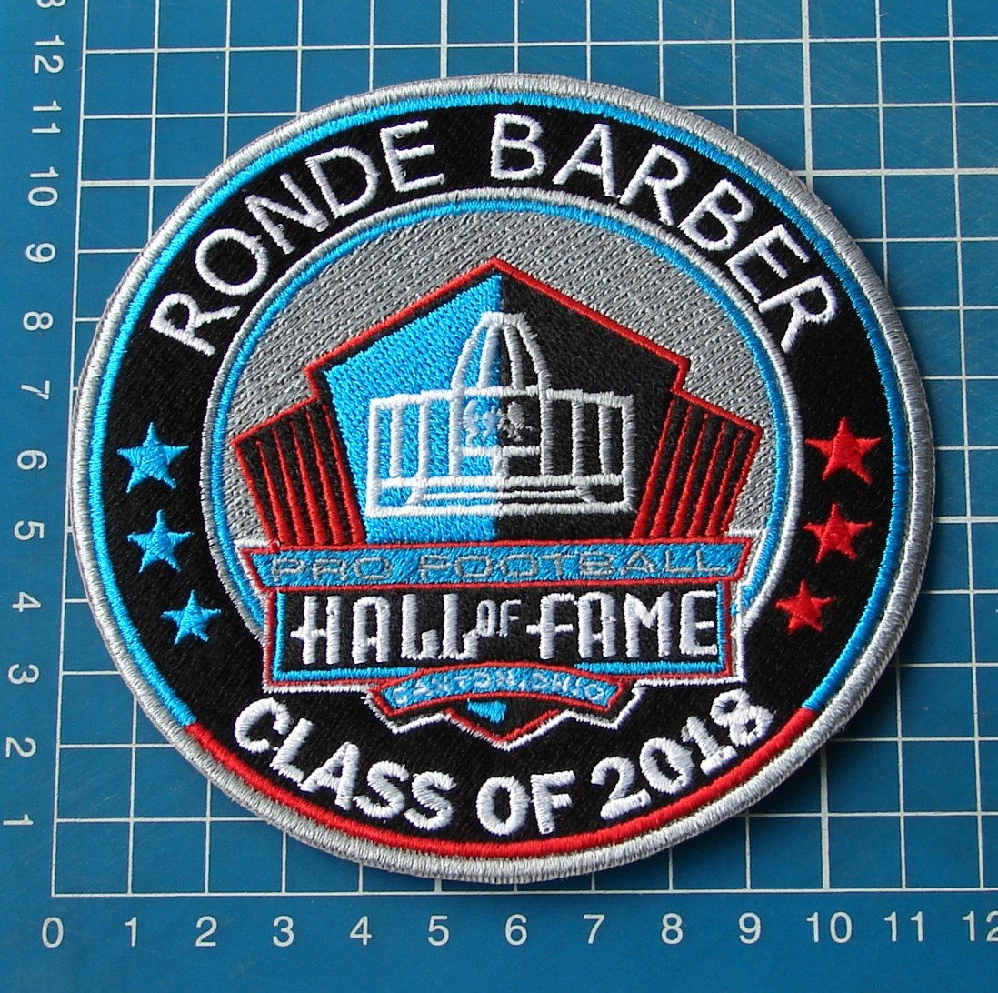 RONDE BARBER 2018 NFL HALL OF FAME FOOTBALL SUPERBOWL LOGO PATCH EMBROIDERED