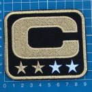 CAPTAIN C PATCH NFL FOOTBALL SUPERBOWL BLACK AND GOLD 2 STAR GOLD PATCH EMBROIDE