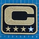 CAPTAIN C PATCH NFL FOOTBALL SUPERBOWL BLACK AND GOLD 3 STAR GOLD PATCH EMBROIDE