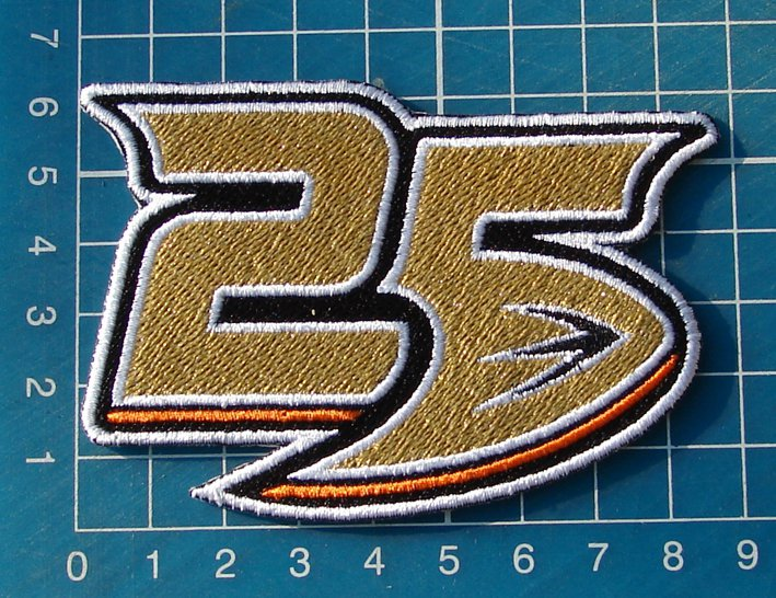 "Anaheim Mighty Ducks 25th Anniversary logo Hockey NHL Patch Jersey 3.5"" embroide"