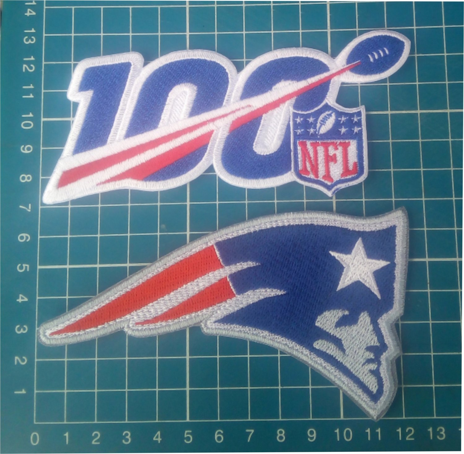 """2019 NFL 100 years anniversary and New England Patriots 5"""" patch Football Jersey"""