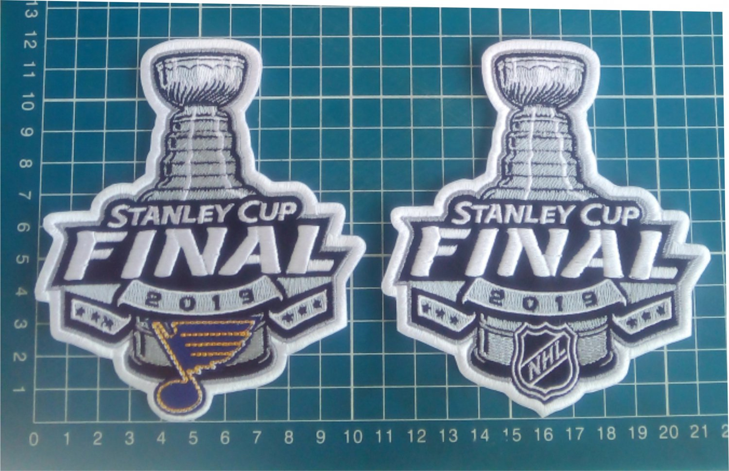 """2019 Stanley Cup Final NHL Patch St. Louis Blues 5"""" Jersey 2pcs embroidered"""