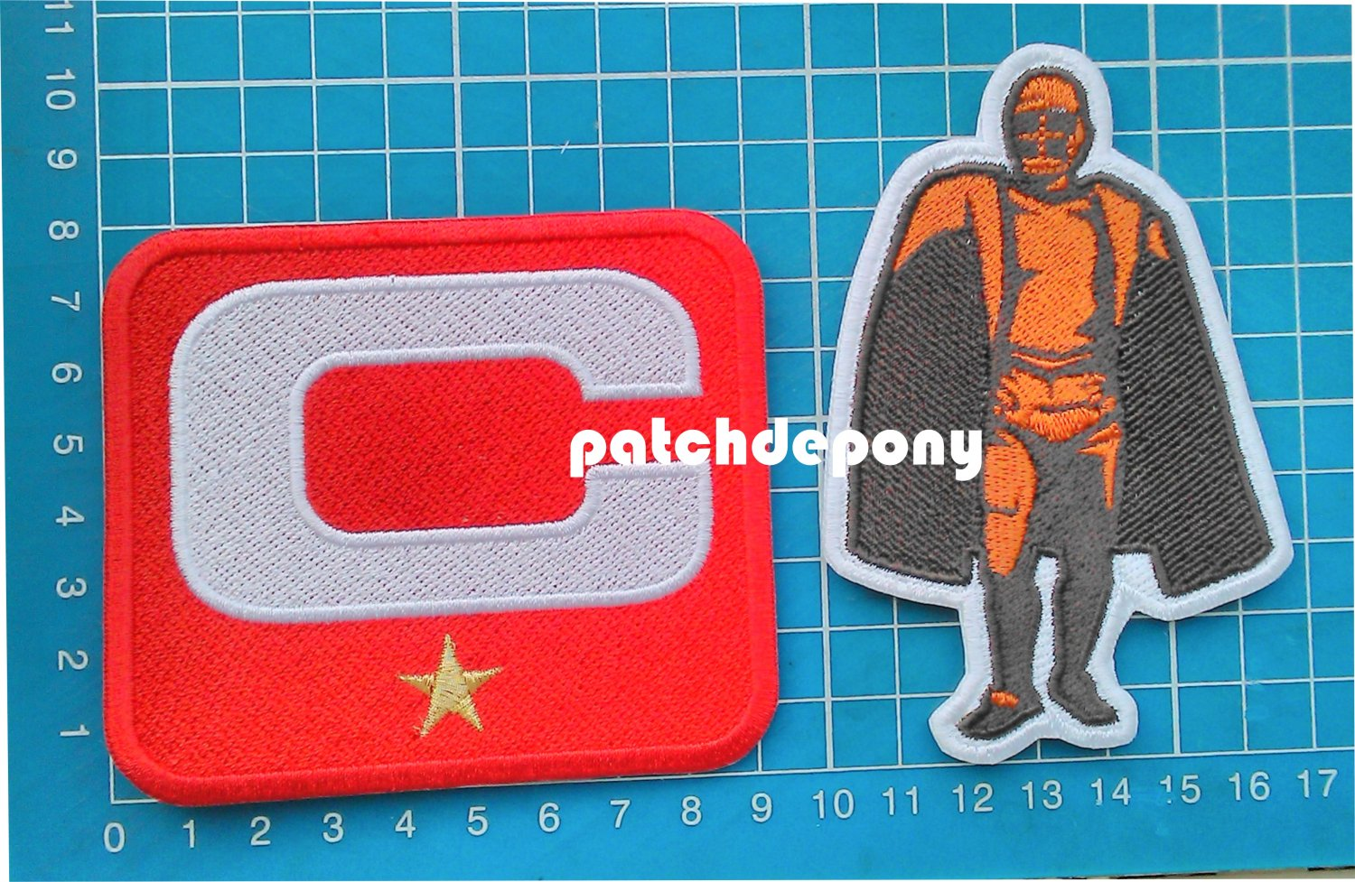 2019 Season Captain C patch RED 1 gold star + Walter Payton Man of Year Patch