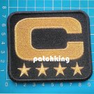 "2019 SEASON Oakland Raiders Captain C patch 3.5"" Black C Gold 4 Star Gold Jersey"