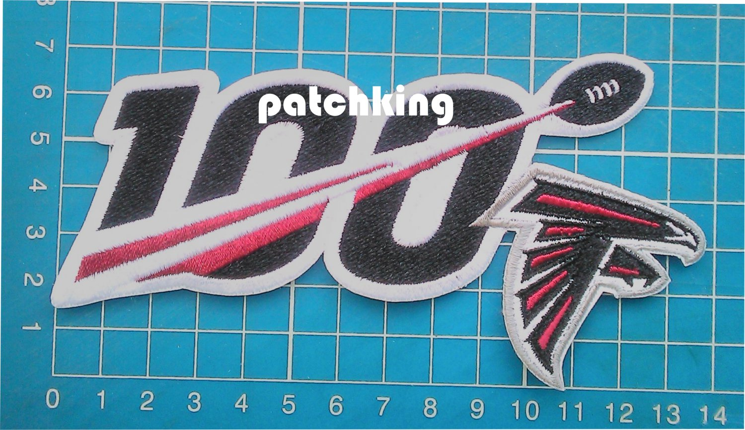 """2019 NFL huddle for 100 Atlanta Falcons anniversary patch jersey 5.5"""" embroid"""