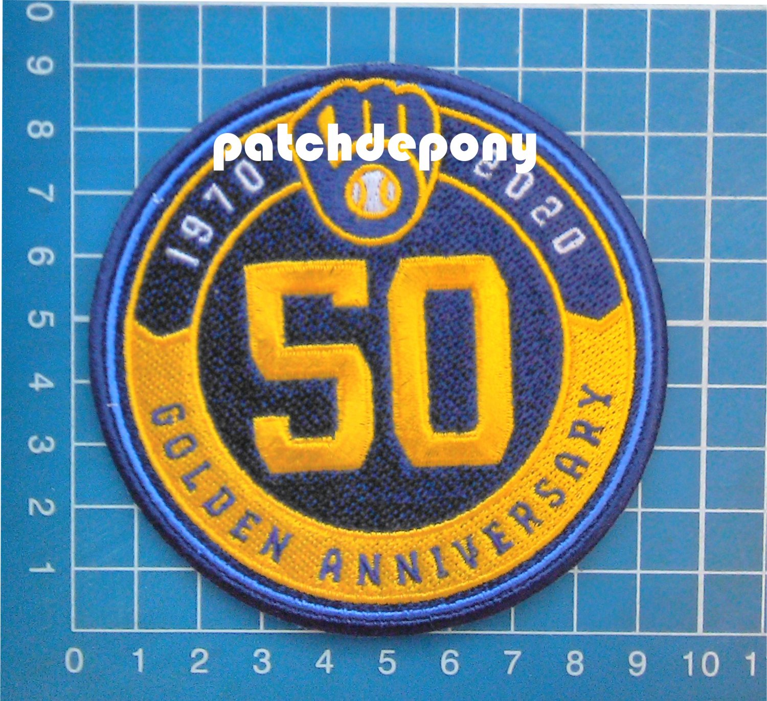 2020 MLB Baseball Milwaukee Brewers 50th anniversary logo patch sew on embroid