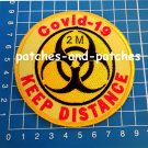 Stop Covid Quarantine Signs 2m Keep Distance Patch sew on embroidery 19 Corona