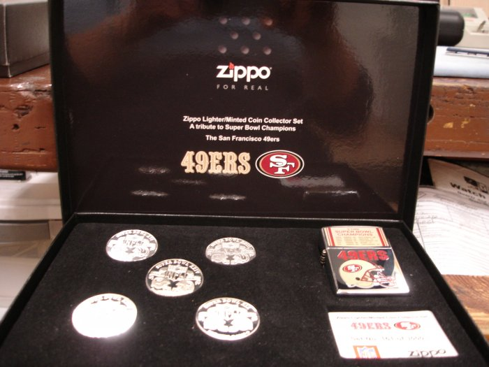 SAN FRANCISCO 49ERS LIMITED EDITION ZIPPO LIGHTER/MINTED COIN COLLECTOR SET