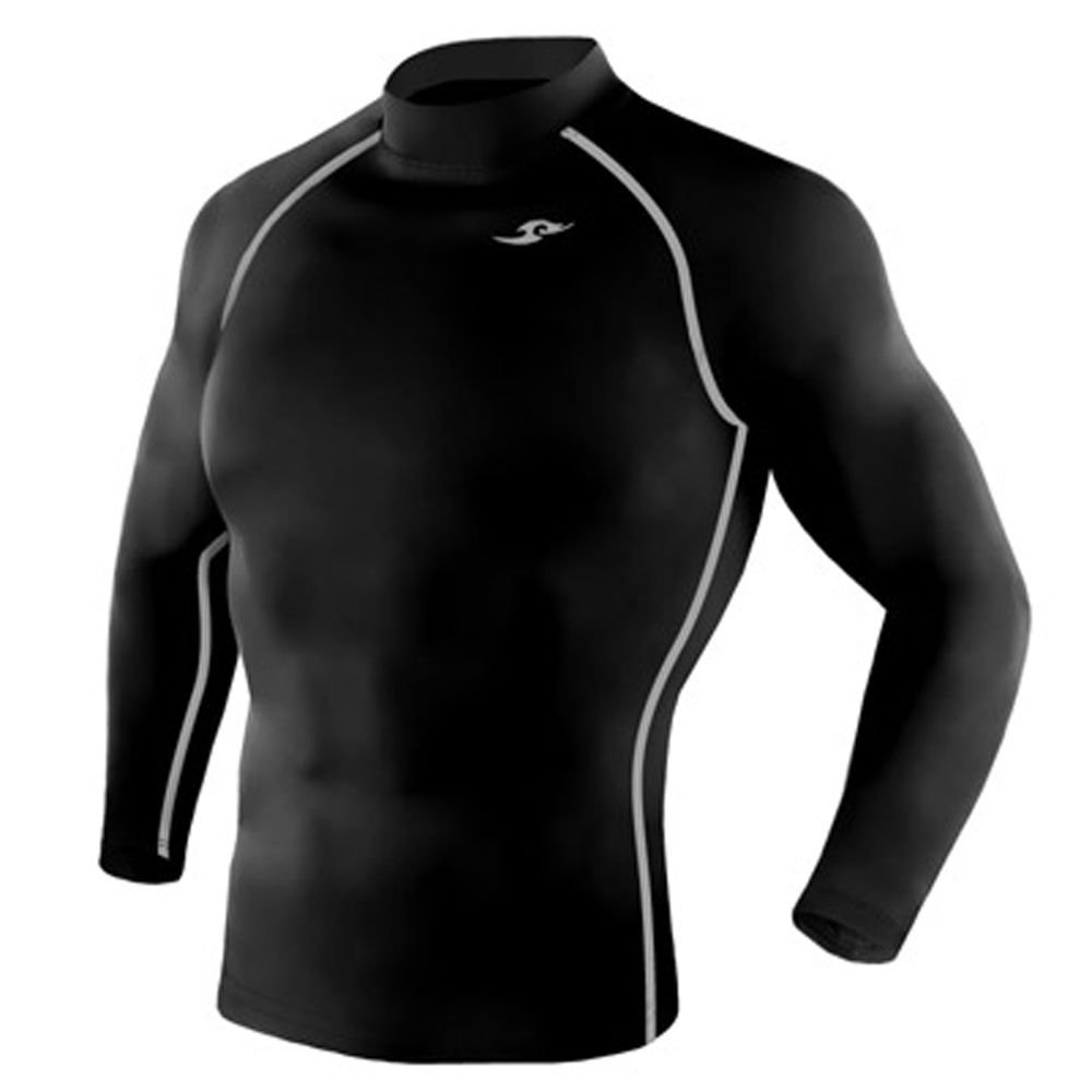 Take Five Mens Skin Tight Compression Base Layer Running Shirt S~2XL Black 001