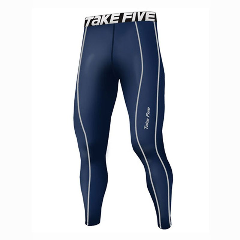 Take Five Mens Lined Skin Tight Compression Base Layer Running Pants Navy 225
