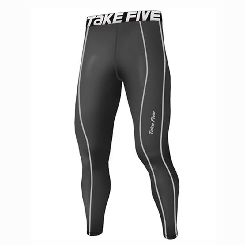 Take Five Mens Lined Skin Tight Compression Base Layer Running Pants Gray 226