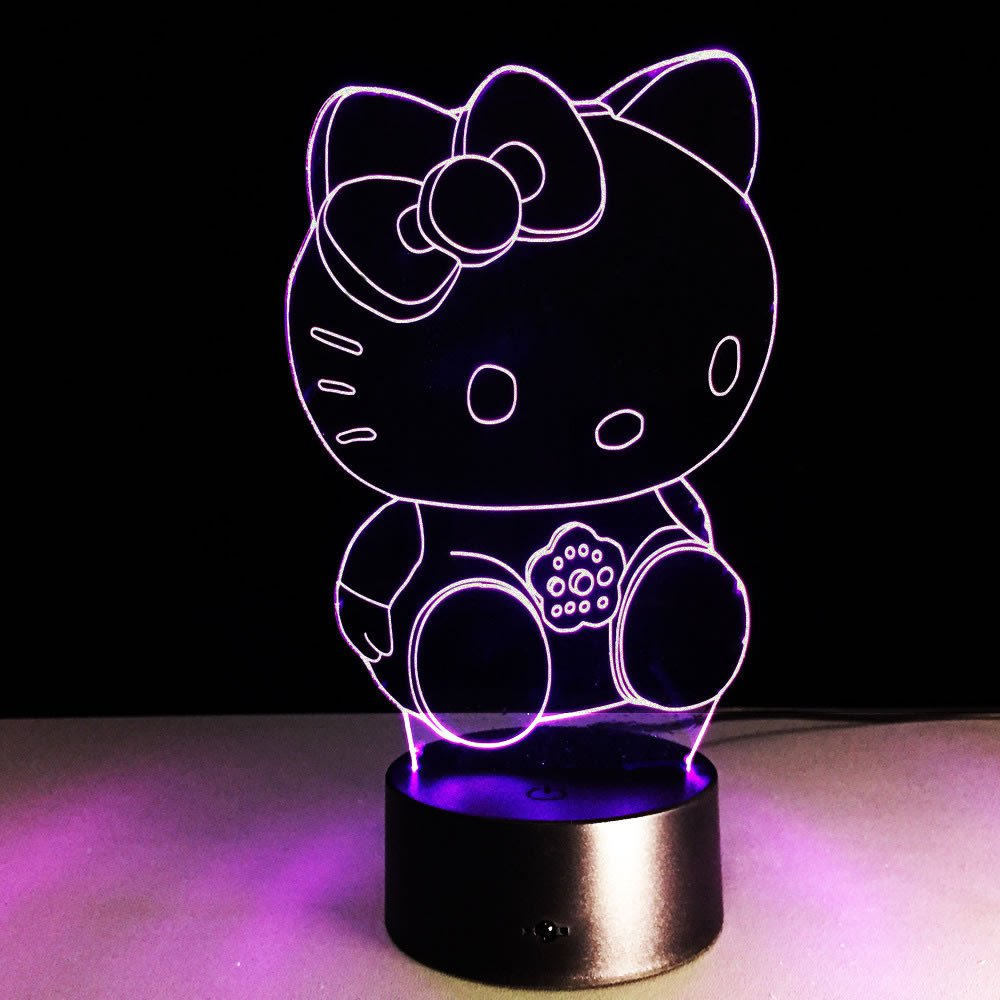3D effect Hello Kitty 7 colors Led night light Touch Decorative Table Lamp night light 2948