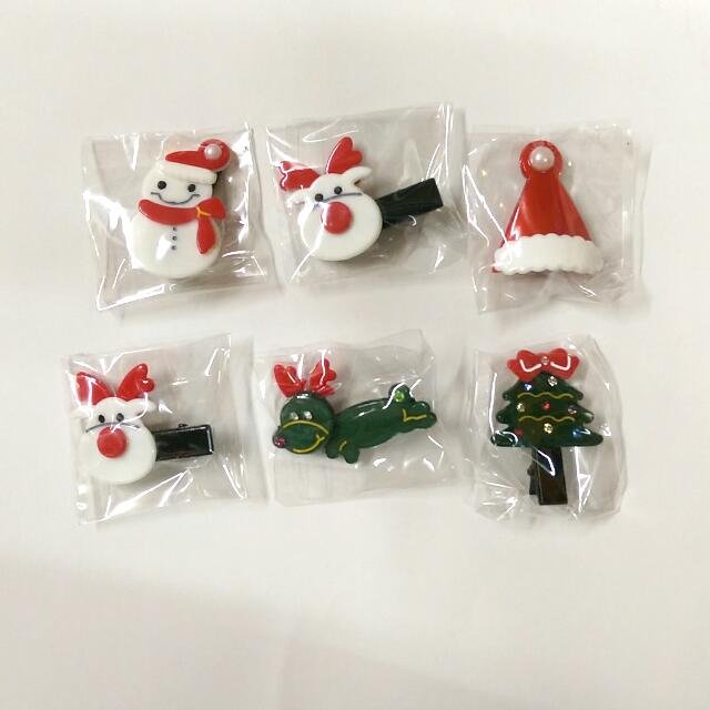 Lovely Christmas Hair Clips Accessories Decorations Snowman Xmas Deer Tree
