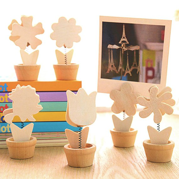 Flowers Photo Holder Memo Clips Set of 6 Different Flower Shapes
