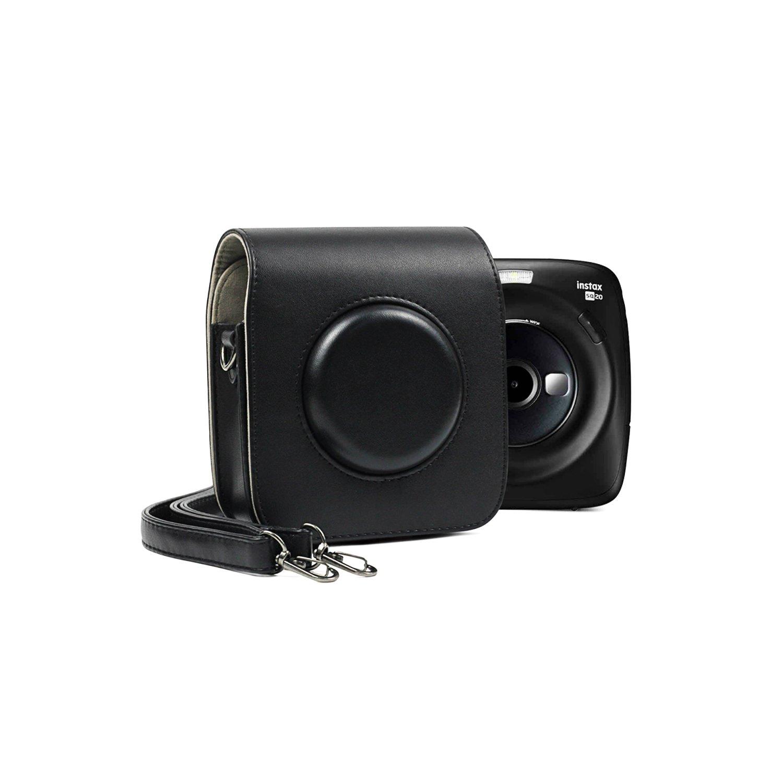 Black Leather Camera Bag for Fujifilm Instax Square SQ20 Cameras