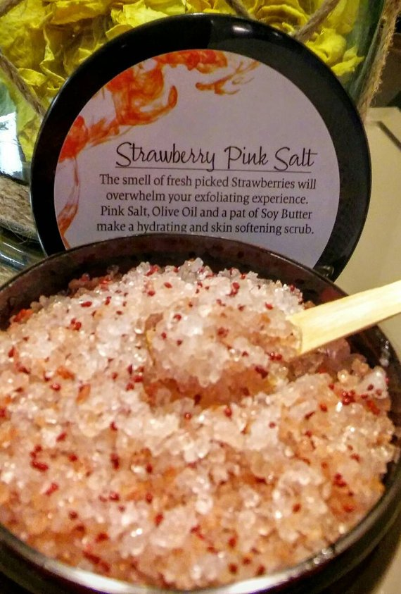 Glorias Grand Strawberry Pink Salt Body Scrub