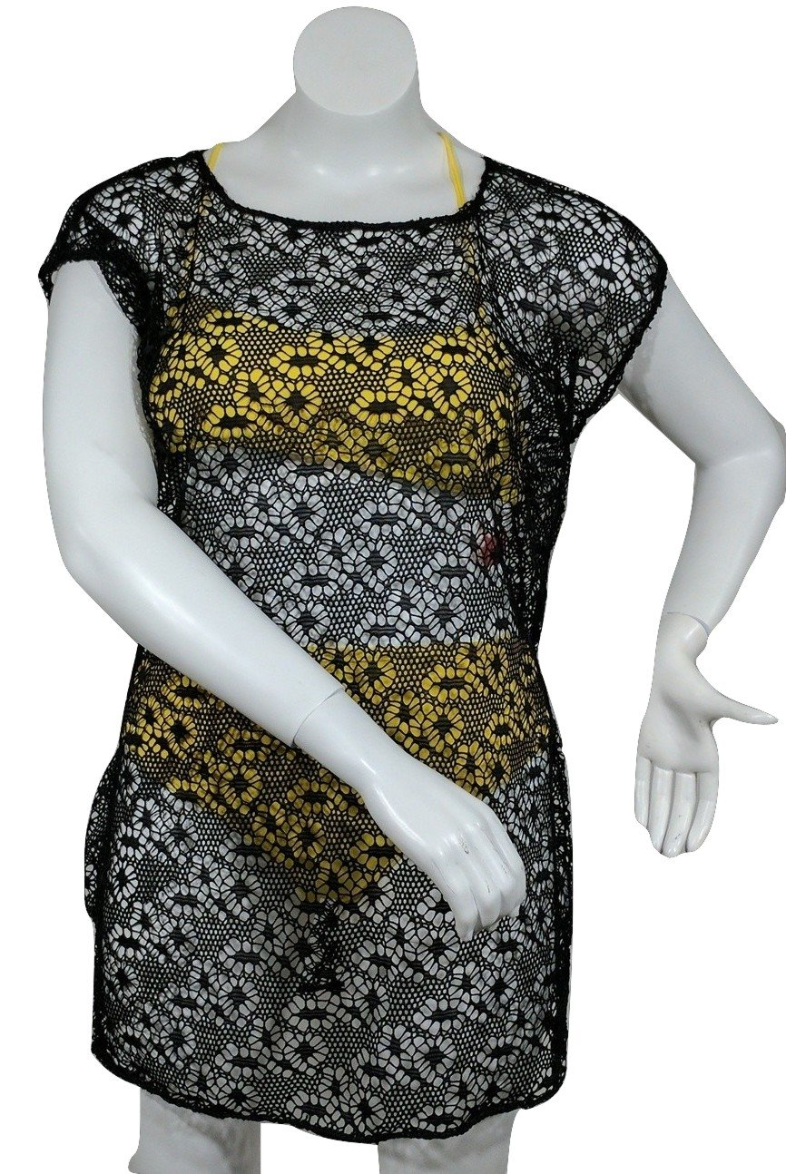 New, Love University, Lace Crop Top With Ties In The Back, Short Sleeves Color Black, Size Small