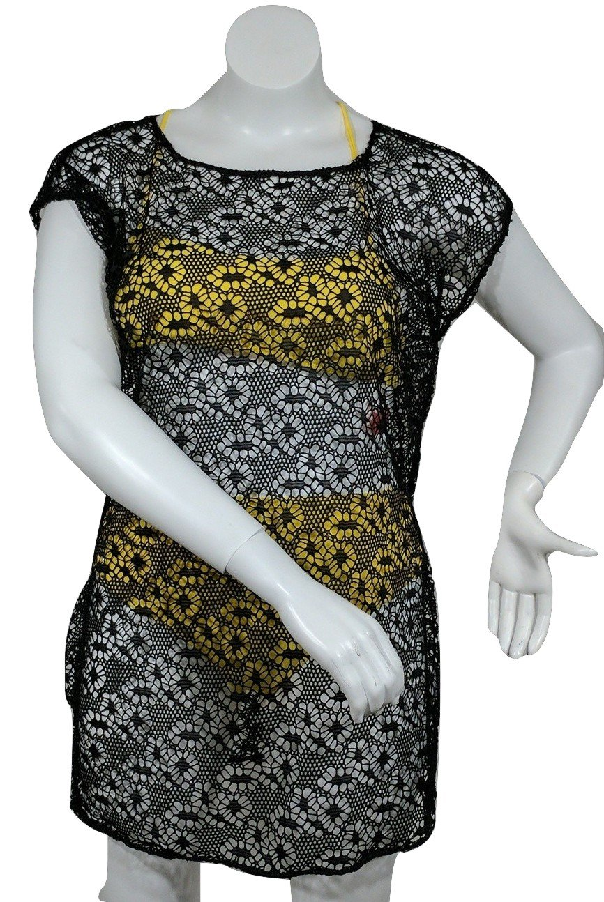 New, Love University, Lace Crop Top With Ties In The Back, Short Sleeves Color Black, Size X-Large