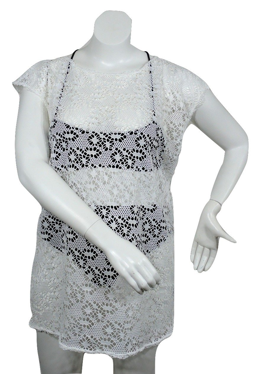 New, Love University, Lace Crop Top With Ties In The Back, Short Sleeves Color White, Size Small