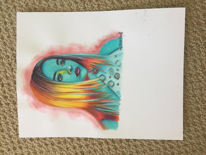 Sabrina Carpenter Colored Pencil Drawing