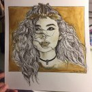 Zendaya Gold Paint and Fine Point Drawing