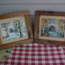 Wood Frame Coverage Bridge Winter & Summer foil prints Set