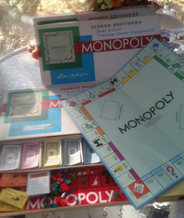 Vintage 4 used Monopoly Board Game- Parker Brothers- 1961 Edition