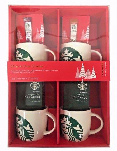 Starbucks Gift Pack - 4 Porcelain 14oz Mugs, 2 Via Instant & 2 Hot Cocoa Packets