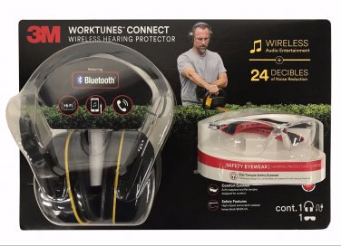 3M Worktunes Connect Wireless Hearing Protector & Flat Temple Safety Eyewear Set