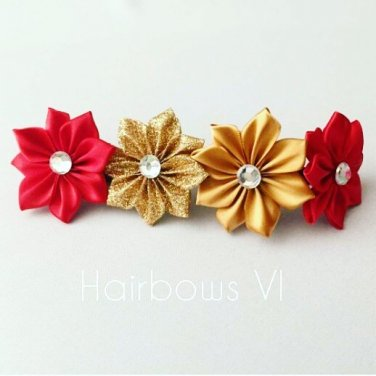 RED & GOLD Kanzashi Pointed Petal satin flowers