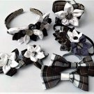 7pcs Plaid Kanzashi Pointed Petals Accessory Set