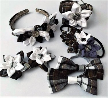 7pcs Plaid Kanzashi Pointed Petals Accessory Set